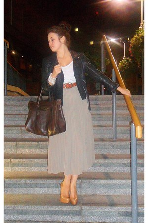 black leather Topshop jacket - dark brown Mulberry bag