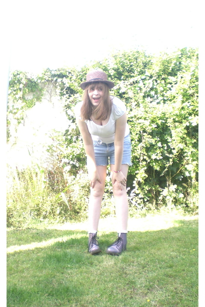 unknown hat - doc martens boots - cut offs- topshop shorts