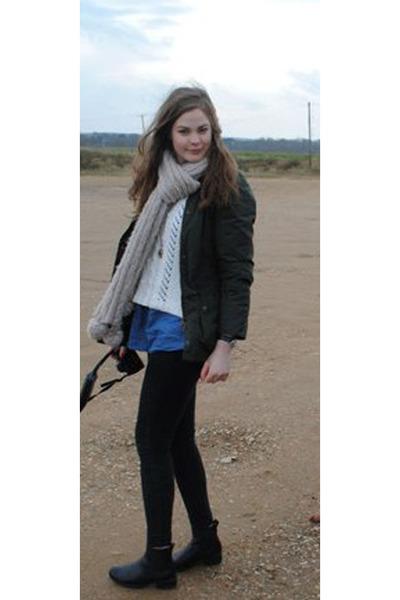 black Chelsea boot boots - green Barbour coat - blue Long Tall Sally shirt - neu