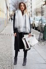 Charcoal-gray-suede-pour-la-victoire-boots-dark-gray-wool-sandro-coat