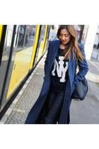 navy wool asos coat - navy cotton H&M sweater - navy leather Alexander Wang bag