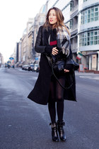 black leather vintage jacket - black knit Zara sweater