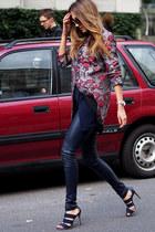 navy leather Helmut Lang pants - brick red warehouse blazer - navy H&M shirt