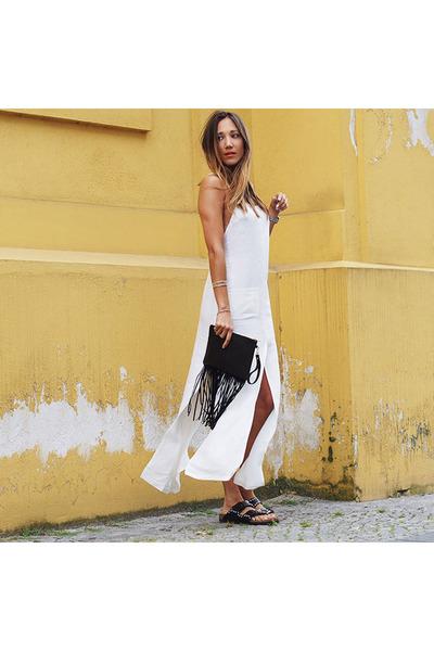 black leather Birkenstock sandals - white linen asos dress