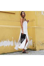black leather Birkenstock sandals - white linen asos dress
