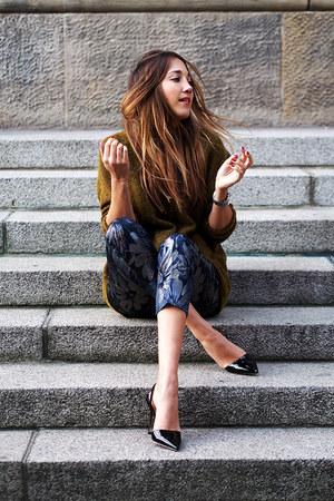 black Jimmy Choo heels - navy Asos Black pants - olive green H&M cardigan