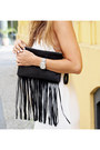 White-linen-asos-dress-black-leather-river-island-bag