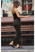 black Prada sunglasses - black cotton Zara top - dark green Drykorn pants
