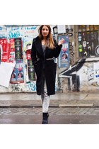 black Zara boots - black wool vintage coat