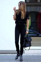black ASH boots - black Hugo Boss bag - black H&M pants - black Schumacher top