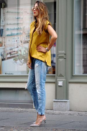 mustard The P Design shirt - light blue Zara jeans - gold Ray Ban sunglasses
