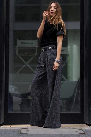 black Schumacher t-shirt - gray Zara pants - black asos belt