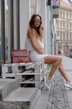 beige Zara dress - burnt orange leather Chloe bag - tan nike sneakers
