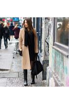 brown wool SuperTrash coat - black rubber Aigle boots - sky blue denim H&M jeans