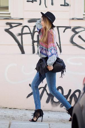 hot pink cotton Zara blouse - blue denim H&M jeans - black wool asos hat