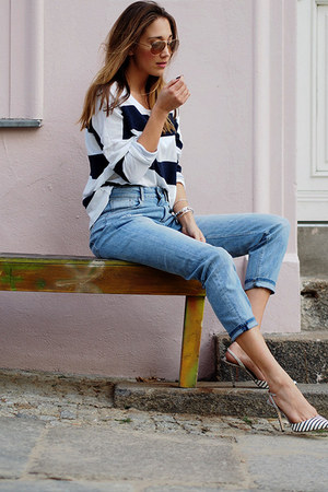 sky blue H&M jeans - white Juvia sweatshirt - beige Jimmy Choo pumps