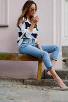 sky blue H&M jeans - white Juvia sweatshirt - beige Jimmy Choo pumps