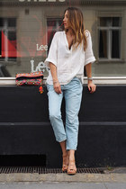 light blue denim Zara jeans - hot pink cotton STAR MELA bag