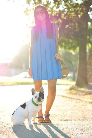 blue vintage dress - brown Aldo purse - Mango sandals