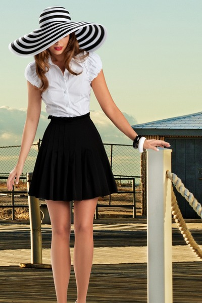 white banana republic blouse - Fendi hat - black neiman marcus skirt