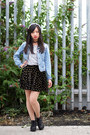 Denim-primark-jacket-black-gmarket-wedges-cross-patterned-taobao-skirt