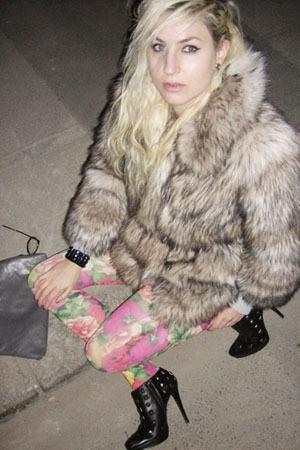 H&M jacket - celeste stein stockings - Colin Stuart shoes