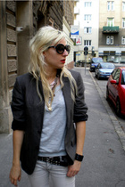 H&M blazer - BDG jeans - penny loves kenny shoes - ioffer sunglasses