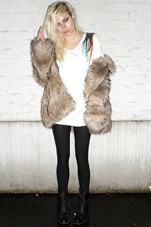 h&m trend fake fur coat - Ebay shoes - aadiy shirt - H&M stockings