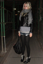 H&M scarf - Ebay jacket - aa shirt - f21ebay accessories - asos purse - H&M shoe