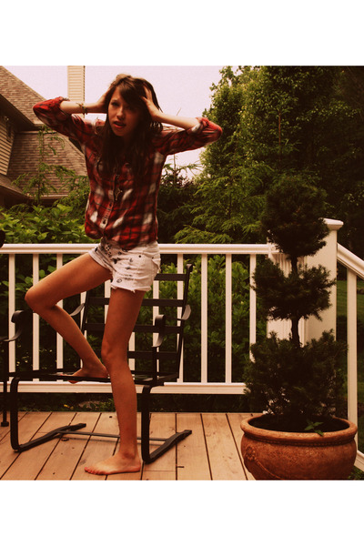 red abercrombie and fitch shirt - white DIY shorts - silver vintage necklace