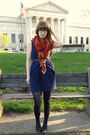 Blue-tulle-dress-brown-miz-mooz-shoes-orange-thrifted-scarf-brown-thrifted