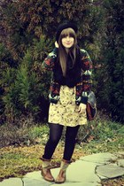 gold Anthropologie dress - dark green thrifted sweater - black thrifted scarf -
