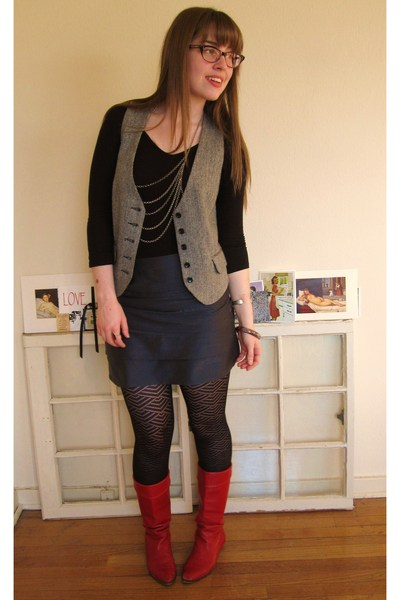 red vintage boots - silver Forever 21 necklace - gray thrifted vest - black Targ
