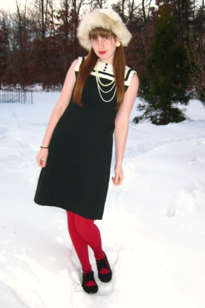 white thrifted hat - black vintage dress - red Express tights - black Urban Outf