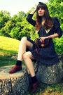 black vintage dress - black Dooney and Bourke vintage thrifted purse - black Tar