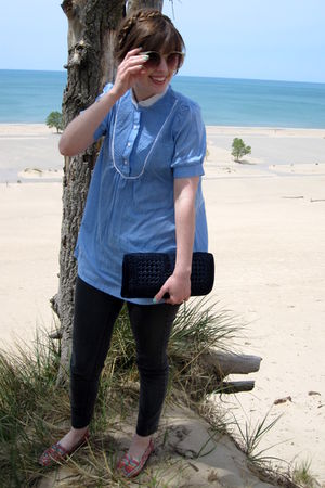 blue thrifted vintage blouse - green thrifted vintage sunglasses - blue thrifted