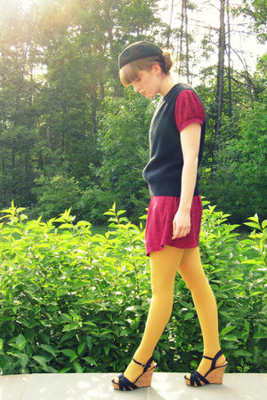yellow American Apparel stockings - red Urban Outfitters dress - black vintage h
