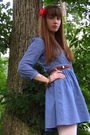 Blue-h-m-dress-brown-thrifted-belt-brown-seychelles-shoes-white-target-tig