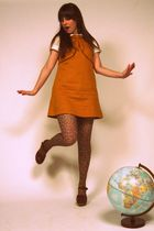 gold Dear Creatures dress - brown H&M tights - brown courtesy of Modcloth shoes
