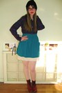 Blue-american-apparel-skirt-white-thrifted-intimate-red-vintage-boots-blue