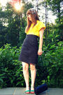 yellow vintage blouse - black vintage thrifted skirt - blue Urban Outfitters sho