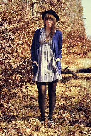 blue UO dress - black f21 shoes - black H&M hat - gold vintage necklace - blue a