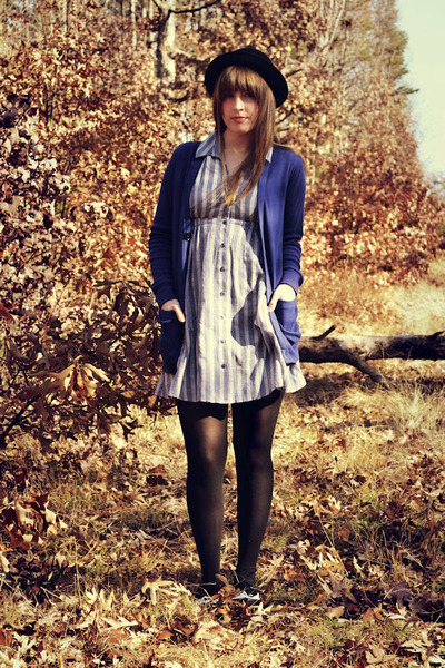 blue UO dress - black f21 shoes - black H&M hat - gold vintage necklace - blue a