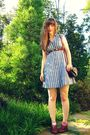 Blue-urban-outfitters-dress-brown-thrifted-belt-brown-vintaged-thrifted-shoe