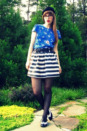 blue Urban Outfitters dress - black Forever 21 skirt - black Forever 21 shoes -