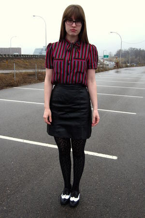 red vintage blouse - black Forever 21 shoes - black Target tights