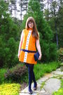 Orange-vintage-via-estate-sale-dress-blue-thrifted-vintage-purse-blue-target