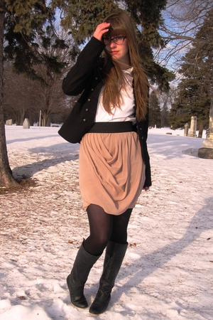 black Aqua jacket - pink Forever 21 skirt - white thrifted shirt - gold thrifted