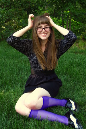 purple courtesy of We Love Colors stockings - black Urban Outfitters dress - bla