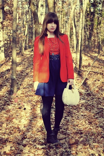 vintage dress - vintage pendleton blazer - thrifted purse - thrifted boots - vin